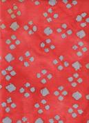 Java Block Printed (Tjap Stamped) Blue Green Diamond Dots on Red Orange Bali Tie Dye (Ikat) Batik Gradation ~ HALF YARD ~ Quilt 100% Cotton 110cm Wide