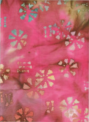 Merrivale Fabrics Pink Blue Earth Floral Stamped Batik 30764 Batik Quilt Fabric 100% Cotton 110cm Wide - HALF YARD