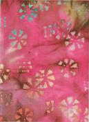 Merrivale Fabrics Pink Blue Earth Floral Stamped Batik 30764 Batik Quilt Fabric 100% Cotton 110cm Wide - HALF YARD