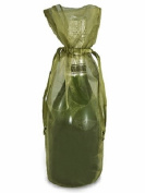 10pc Moss Green Bottle & Wine Organza Favour Gift Bags 17cm x 38cm