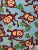 MONKEY POLAR FLEECE FABRIC- SKY BLUE VINE MONKEYS - ONLY $4.99/YARD SOLD BTY