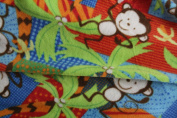 Monkey Polar Fleece Fabric- Gren/red / Brown Monkeys