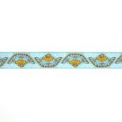 2.5cm - 1.3cm Anna Maria Horner Yarrow Flower Ribbon Gold/Light Blue