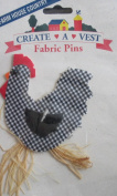Farm House Country Create A Vest Fabric Pin