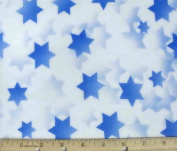 Stars of Light Jewish Fabric - Blue
