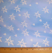 Star of David Jewish Fabric - Light Blue