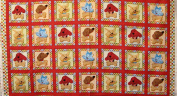 110cm Wide CLIFFORD Puppy Blocks Cotton Fabric By The Panel