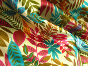 100% Polyester Satin Charmeuse Multi Coloured Leaves on White 150cm Wide Fabric By the Yard