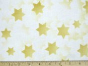 Stars of Light Jewish Fabric - Gold