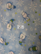 CHRISTMAS PRINT POLAR FLEECE FABRIC - Snowman Blue - 150cm WIDTH SOLD BTY