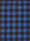 Blue Buffalo Cheque Plaid Print Flannel Quilt Fabric ~ HALF YARD ~ Blue & Black Paul Bunyan Shirting by Camelot Fabrics #2150015B ~ Flannel Quilt Fabric 100% Cotton 2.5cm Wide