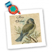 Cassie Peters Digital Art - Merry Christmas Vintage Bird With Grunge Texture by Angelandspot - Quilt Squares