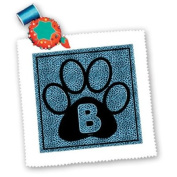 3dRose LLC Letter B Blue Cheetah Print Cat Paw 25cm by 25cm Quilt, Square