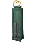 "Hunter Green Jute Wine Bags With Wooden Handles "" 5 Pack"