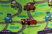 Cars Green Background Fleece Fabric 150cm Width By the Yard