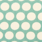 sea green birch organic fabric from the USA with white dots