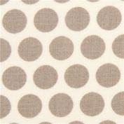 ecru birch organic fabric from the USA with grey dots