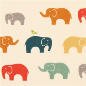 colourful elephants animal organic knit fabric birch USA