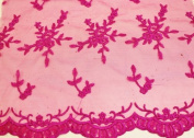 Fuchsia, Embroidery Lace Fabric on Polyester Mesh with Fancy Flower Design 140cm Wide