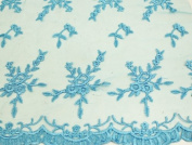 Turquoise, Embroidery Lace Fabric on Polyester Mesh with Fancy Flower Design 140cm Wide