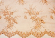 Coral Peach, Lace Fabric Embroidery on Polyester Mesh with Flower Design 140cm Wide