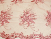 Fuchsia, Lace Fabric Embroidery on Polyester Mesh with Floral Style Design 140cm Wide