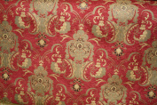 Chenill Damask Fabric, Colour Red/gold, Sold By the Yard 150cm Wide