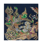 Thai Silk Picture Painting Handmade Rama The Chariot