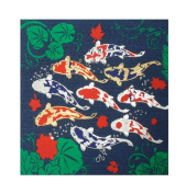 Thai Silk 9 Fancy Carp Fish Picture Painting Handmade