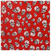2.5cm Wide Skulls (Red) by the Yard