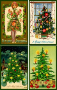 Olde America Antiques Christmas Ornament Set #8 (Trees) Cotton 7.6cm x 11cm Quilt Blocks