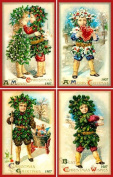 Olde America Antiques Christmas Ornament Set #35 Cotton 7.6cm x 11cm Quilt Blocks