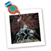Sandy Mertens Marine Corp Memorial with Fireworks Square Quilt Sheet, 25cm by 25cm