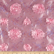 Stunning Sequined Rosette Satin Pink Fabric