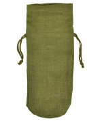 "Moss Green Jute Wine Bags With Drawstrings "" 10 Pack"
