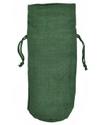 "Hunter Green Jute Wine Bags With Drawstrings "" 10 Pack"