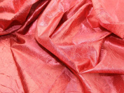 140cm wide Creased Lame Metallic Dress Fabric Red - per 2 metres