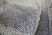 Silk Road Floral Embroided with Chenille Colour White, 150cm Sold By the Yard