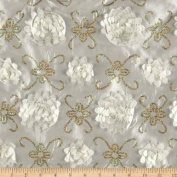 Stunning Sequined Rosette Satin Ivory Fabric