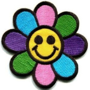 Flower Power Smiley Face Boho Hippie Retro Love Applique Iron-on Patch