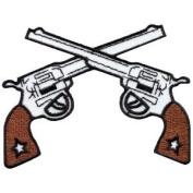 Six Guns Pistols Cowboy Western Gunfighter Applique Iron-on Patch