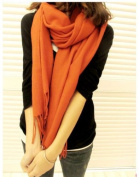 Orange Large Warmer Long Cape Cashmere Vintage Lady Women's Lady Wool Shawl Wrap Scarf