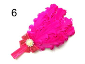 JY Jewellery dark pink Children Girls Feather Flower Crystal Hair Band Elastic Headband H7-5