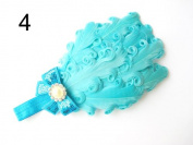JY Jewellery light blue Children Girls Feather Flower Crystal Hair Band Elastic Headband H7-3