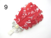 JY Jewellery red Children Girls Feather Flower Crystal Hair Band Elastic Headband H7-8