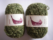 Free Ship 1 Skein Military Green Boucle Yarn Acrylic, Cotton & Polyamide Blend