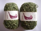 Free Ship 1 Skein Military Green Boucle Yarn Acrylic, Cotton & Polyamide Blend