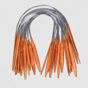 Ostart 18 Pairs 16'' (40cm) Circular Carbonised Bamboo Knitting Kits Needles Set