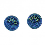 2 Nirvana Beads Czech Glass Buttons,054/3728-12 - Blue Moon Button 27 mm