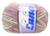 Luna Variegated Light Purple & Light Green Combed Cotton Yarn Thread
